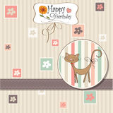 Cartolina d'auguri con il gatto Fotografia Stock
