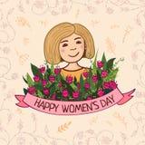 Cartolina d'auguri con il giorno delle donne Fotografia Stock