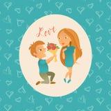 Cartolina d'auguri con il giorno felice del ` s del biglietto di S. Valentino Fotografia Stock Libera da Diritti
