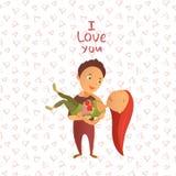 Cartolina d'auguri con il giorno felice del ` s del biglietto di S. Valentino Fotografia Stock