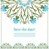 Cartolina d'auguri con il modello etnico dell'ornamento del fiordaliso Immagini Stock Libere da Diritti