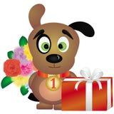 Cartolina d'auguri con il piccolo cane Immagine Stock