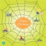Cartolina d'auguri con il ragno divertente del fumetto Immagine Stock Libera da Diritti