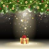 Cartolina d'auguri con il regalo Fotografia Stock