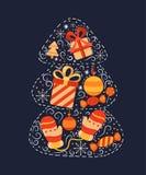 Cartolina d'auguri con l'albero di Natale Immagine Stock Libera da Diritti