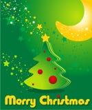 Cartolina d'auguri con l'albero di Natale, le stelle e la luna Immagini Stock