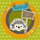 Cartolina d'auguri con l'istrice divertente del fumetto Fotografia Stock