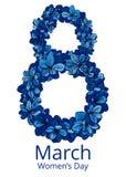 Cartolina d'auguri con l'8 marzo Fotografie Stock