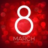 Cartolina d'auguri con l'8 marzo, giorno del ` s delle donne sul fondo del bokeh, illustrazione di vettore Immagine Stock