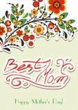 Cartolina d'auguri con l'ornamento floreale di Hohloma Immagini Stock