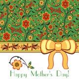 Cartolina d'auguri con l'ornamento floreale di Hohloma Fotografia Stock