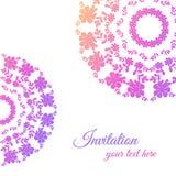 Cartolina d'auguri con l'ornamento rosa Fotografia Stock Libera da Diritti