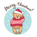 Cartolina d'auguri con l'orsacchiotto Fotografia Stock