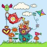 Cartolina d'auguri con l'orsacchiotto e gli uccelli illustrazione vettoriale