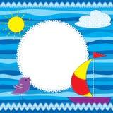 Cartolina d'auguri con la barca Immagini Stock