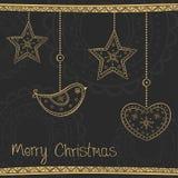 Cartolina d'auguri con la decorazione dell'albero di Natale dell'oro Immagine Stock Libera da Diritti