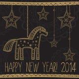 Cartolina d'auguri con la decorazione etnica dell'albero del nuovo anno dell'oro Fotografia Stock
