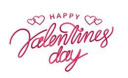 Cartolina d'auguri con 3d la linea scritta a mano tipo iscrizione del giorno felice del ` s del biglietto di S. Valentino su fond Fotografie Stock