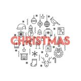 Cartolina d'auguri con la linea sottile Natale rosso di parola di American National Standard delle icone grande Fotografie Stock Libere da Diritti