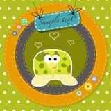 Cartolina d'auguri con la tartaruga divertente del fumetto Immagine Stock