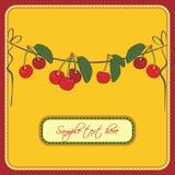 Cartolina d'auguri con le ciliege Fotografia Stock Libera da Diritti