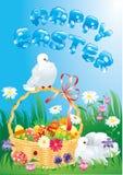 Cartolina d'auguri con le colombe, il canestro e le uova di Pasqua Immagini Stock