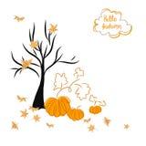 Cartolina d'auguri con le zucche e le foglie di autunno Illustrazione Vettoriale
