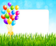 Cartolina d'auguri con lo strato di carta ed i palloni variopinti Immagine Stock