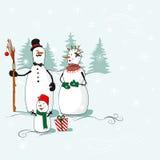 Cartolina d'auguri con pupazzi di neve Fotografie Stock
