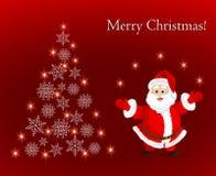 Cartolina d'auguri con Santa Claus e l'albero di Natale astratto dei fiocchi di neve illustrazione vettoriale