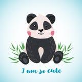 Cartolina d'auguri con stile tirato sveglio del panda a disposizione illustrazione vettoriale