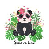 Cartolina d'auguri con stile tirato sveglio del panda a disposizione illustrazione di stock