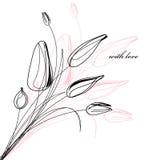 Cartolina d'auguri con un abbozzo dei tulipani royalty illustrazione gratis