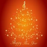 Cartolina d'auguri con un albero di Natale musicale dell'estratto, con le note e la chiave tripla royalty illustrazione gratis