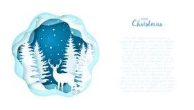 Cartolina d'auguri con un cervo scandinavo nella foresta Fotografie Stock