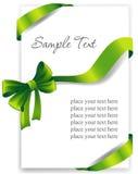 Cartolina d'auguri con un nastro verde Immagine Stock Libera da Diritti