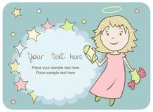 Cartolina d'auguri con un piccolo angelo fotografie stock