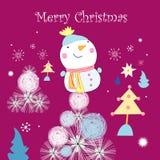 Cartolina d'auguri con un pupazzo di neve Immagini Stock