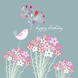 Cartolina d'auguri con un uccello Fotografia Stock