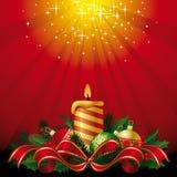 Cartolina d'auguri con una candela Fotografie Stock