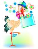 Cartolina d'auguri con una cicogna che ha portato una lettera illustrazione di stock