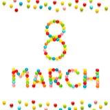 Cartolina d'auguri creativa all'8 marzo Fotografia Stock Libera da Diritti