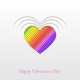 Cartolina d'auguri creativa del cuore di giorno di biglietti di S. Valentino Fotografia Stock Libera da Diritti
