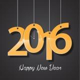 Cartolina d'auguri creativa 2016 dorati del buon anno Fotografia Stock