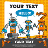 Cartolina d'auguri d'annata con i robot Fotografia Stock Libera da Diritti