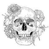 Cartolina d'auguri d'annata con il cranio disegnato a mano e royalty illustrazione gratis