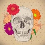 Cartolina d'auguri d'annata con il cranio ed i fiori sopra royalty illustrazione gratis
