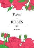 Cartolina d'auguri d'annata con le rose disegnate a mano e illustrazione di stock
