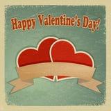 Cartolina d'auguri d'annata con un San Valentino felice Fotografia Stock Libera da Diritti