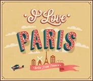Cartolina d'auguri d'annata da Parigi - la Francia. Fotografia Stock Libera da Diritti